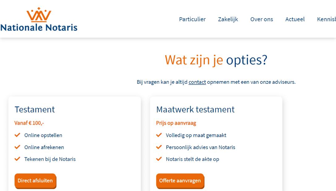 Nationale notaris testament online opstellen